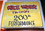 The Cake:  backstage celebrating the 200th Performance of 'Nice Work if You Can Get It' on Broadway at the Imperial Theatre on October 17, 2012 in New York City.