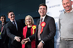 © Joel Goodman - 07973 332324 . 05/05/2017 . Manchester , UK . SEAN ANSTEE , JANE BROPHY and ANDY BURNHAM on the stage at the declaration . The count for council and Metro Mayor elections in Greater Manchester at the Manchester Central Convention Centre . Photo credit : Joel Goodman