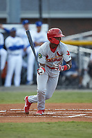 Carlos Soler (13) of the Johnson City Cardinals follows through on his swing against the Burlington Royals at Burlington Athletic Stadium on September 4, 2019 in Burlington, North Carolina. The Cardinals defeated the Royals 8-6 to win the 2019 Appalachian League Championship. (Brian Westerholt/Four Seam Images)