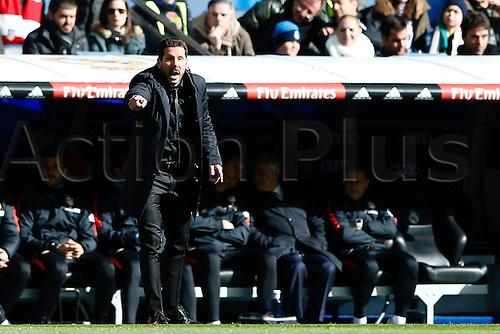 27.02.2016. Madrid, Spain.  Diego Pablo Simeone Coach of Atletico de Madrid during La Liga match between Real Madrid and Atletico de Madrid at the Santiago Bernabeu stadium in Madrid, Spain