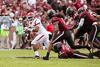 Hawgs Illustrated/BEN GOFF <br /> Chase Hayden, Arkansas running back, tries to break the tackle of Rashad Fenton (16), South Carolina cornerback, in the second quarter Saturday, Oct. 7, 2017, at Williams-Brice Stadium in Columbia, S.C.