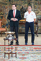 The reception of Prime Minister Mariano Rajoy to Spain national basketball team gold at EuroBasket 2015 at Moncloa Palace in Madrid, 21 September, 2015.<br /> Prime Minister Mariano Rajoy and Coach Sergio Scariolo.<br /> (ALTERPHOTOS/BorjaB.Hojas) /NortePhoto.com