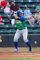 Joshua Banuelos (4) of the Lexington Legends at bat against the Hickory Crawdads at L.P. Frans Stadium on April 29, 2016 in Hickory, North Carolina.  The Crawdads defeated the Legends 6-2.  (Brian Westerholt/Four Seam Images)