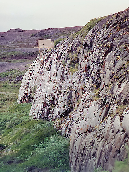 Ron Austing's completed Peregrine Falcon blind in Bathurst Inlet; Nunavut Territory; Canada