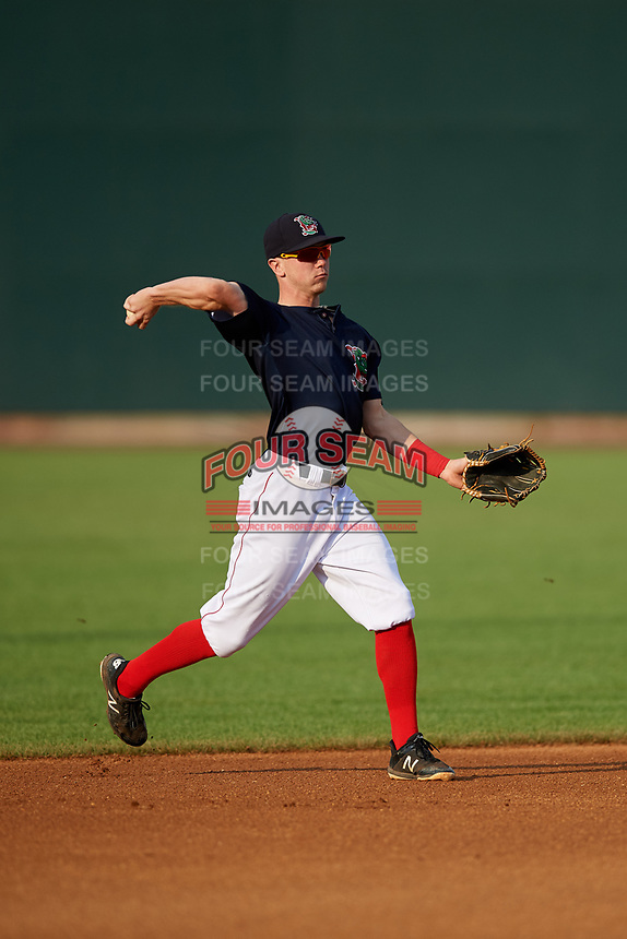 Lowell Spinners second baseman Grant Williams (11) throws to first base during a game against the Vermont Lake Monsters on August 25, 2018 at Edward A. LeLacheur Park in Lowell, Massachusetts.  Vermont defeated Lowell 4-3.  (Mike Janes/Four Seam Images)