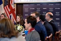 Canadian Foreign Minister Chrystia Freeland speaks at the G-7 Outreach Session with Non-G7 Women Foreign Ministers