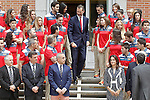 King Felipe VI of Spain received in audience a representation of Spanish athletes participating in the First Edition of the European Games in the categories of karate, triathlon, badminton, boxing, wrestling, gymnastics, judo and Olympic shooting and the Executive Committee of the Olympic Committee Spanish (COE), who attended the Zarzuela Palace headed by president of the COE, Alejandro Blanco Bravo. June 6,2015. (ALTERPHOTOS/Acero)