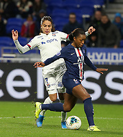 20191116 – LYON ,  FRANCE ; Lyon's Amel Majri (left) and PSG's Grace Geyoro battle for ball possession during a women's soccer game between Olympique Lyonnais and PARIS SG on the 9th matchday of the French Women's first league , D1 of the 2019-2020 season , Saturday 16 th November 2019 at the Groupama stadium in Lyon , France . PHOTO SPORTPIX.BE   SEVIL OKTEM