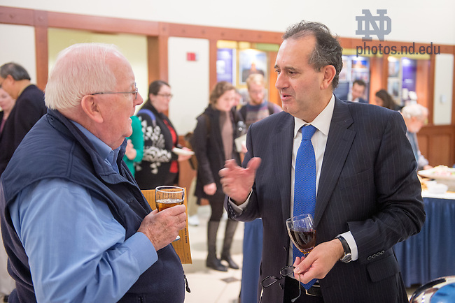 Nov. 11, 2015; Joseph Zahra chats at a reception after a talk in the Eck Visitor Center Auditorium. (Photo by Matt Cashore/University of Notre Dame)