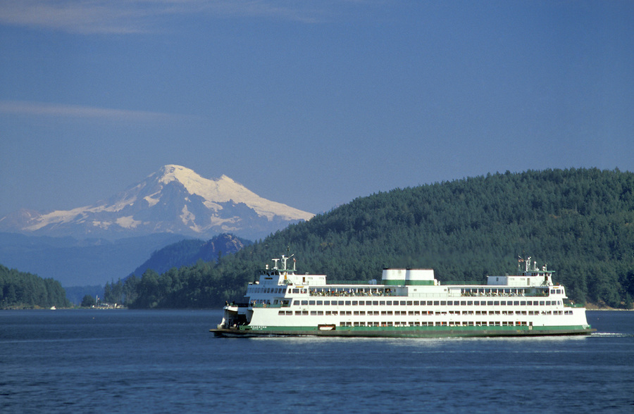 Ferry Kaleetan cruising San Juan Islands (Mt Baker in background), Washington