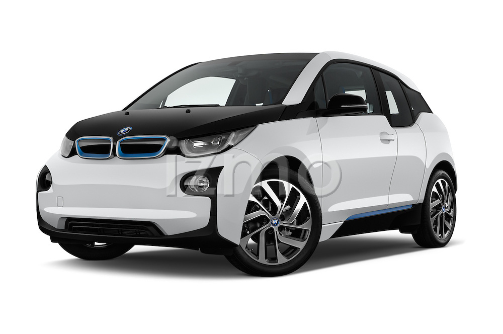Stock pictures of low aggressive front three quarter view of 2017 BMW I3 Deka-World 5 Door Hatchback Low Aggressive
