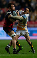 Bristol Bears' Jack Lam is tackled by Wasps' Juan De Jongh<br /> <br /> Photographer Bob Bradford/CameraSport<br /> <br /> Gallagher Premiership - Bristol Bears v Wasps - Friday 15th February 2019 - Ashton Gate - Bristol<br /> <br /> World Copyright © 2019 CameraSport. All rights reserved. 43 Linden Ave. Countesthorpe. Leicester. England. LE8 5PG - Tel: +44 (0) 116 277 4147 - admin@camerasport.com - www.camerasport.com