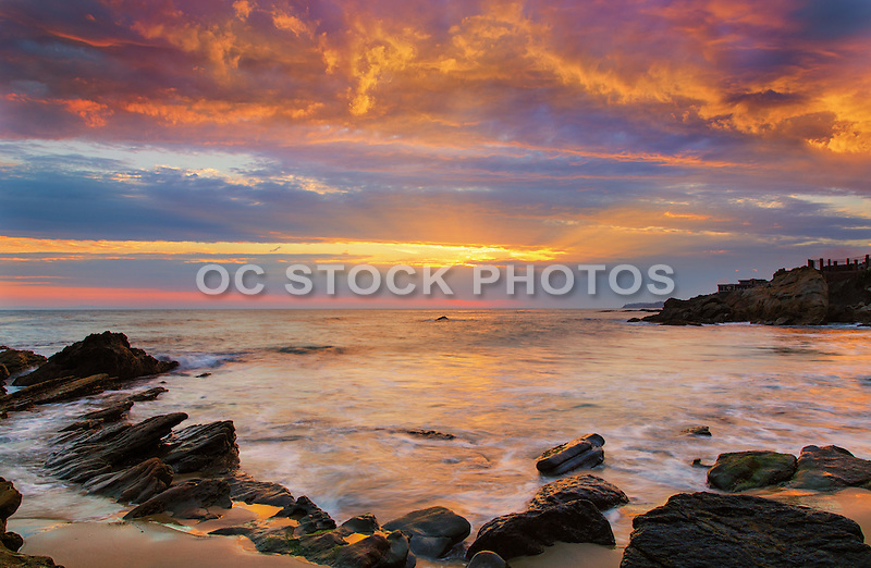 The Coast of Laguna Beach California at Dusk