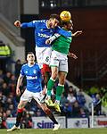 05.02.2020 Rangers v Hibs: Connor Goldson and Christian Doidge