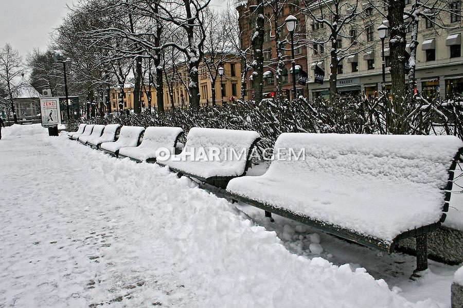 Bancos com neve em Oslo. Noruega. 2008. Foto de Marcio Nel Cimatti.
