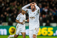 Angel Rangel of Swansea holds his head in his hands after his goal is disallowed during the Barclays Premier League match between Swansea City and Sunderland played at the Liberty Stadium, Swansea  on  January the 13th 2016