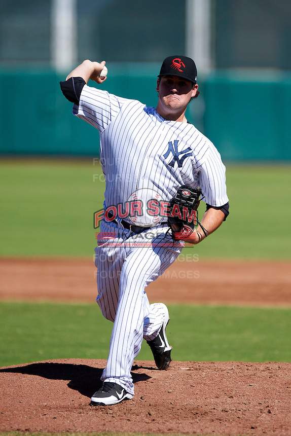 Scottsdale Scorpions pitcher Zach Nuding #50, of the New York Yankees organization, during an Arizona Fall League game against the Surprise Saguaros at Scottsdale Stadium on October 16, 2012 in Scottsdale, Arizona.  Surprise defeated Scottsdale 11-3.  (Mike Janes/Four Seam Images)