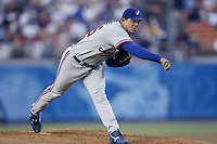 Tony Armas, Jr. of the Montreal Expos during a 2002 MLB season game  against the Los Angeles Dodgers at Dodger Stadium, in Los Angeles, California. (Larry Goren/Four Seam Images)