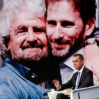 Luigi Di Maio e sul video Beppe Grillo e Davide Casaleggio<br /> Roma 09/01/2018. Trasmissione tv Rai 'Porta a Porta'.<br /> Rome January 9th 2018. Talk show 'Porta a Porta'.<br /> Foto Samantha Zucchi Insidefoto