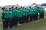 The Ireland team line up for the anthems.<br /> 6 Nations Championship<br /> Wales v Ireland Women<br /> St Helens Swansea<br /> 15.03.15<br /> &copy;Steve Pope - SPORTINGWALES