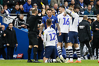 Lee Tomlin of Cardiff City (C) sees a yellow card by referee Jeremy Simpson for his foul against Paul Gallagher of Preston North End (12) during the Sky Bet Championship match between Cardiff City and Preston North End at the Cardiff City Stadium, Wales, UK. Saturday 21 December 2019