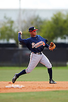 Atlanta Braves second baseman Derian Cruz (55) during an Instructional League game against the Houston Astros on September 26, 2016 at Osceola County Stadium Complex in Kissimmee, Florida.  (Mike Janes/Four Seam Images)