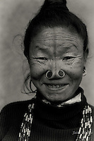 The face tattoos of the Apatani tribe are the cultural signatures of this unqiue tribe of Arunachal Pradesh. Many legends are associated with this practice and the most common one is that the tattoos acted as a deterrent to the rampant kidnappings of young Apatani girls who were known for their beauty by neighboruing tribes. This practice is no longer allowed by the government and thsi tradition is breathing its last breath.