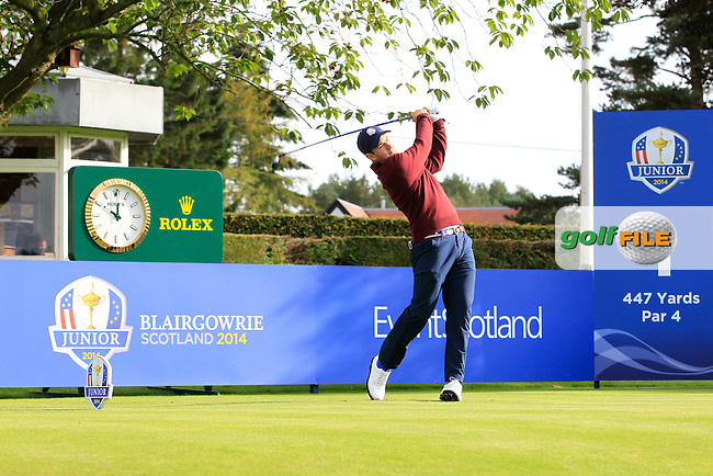 Cameron Young (USA) on the 1st tee during Day 2 Singles for the Junior Ryder Cup 2014 at Blairgowrie Golf Club on Tuesday 23rd September 2014.<br /> Picture:  Thos Caffrey / www.golffile.ie