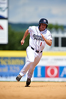 Binghamton Rumble Ponies second baseman Dale Burdick (1) running the bases during a game against the Hartford Yard Goats on July 9, 2017 at NYSEG Stadium in Binghamton, New York.  Hartford defeated Binghamton 7-3.  (Mike Janes/Four Seam Images)