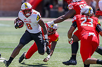 College Park, MD - April 27, 2019: Maryland Terrapins running back Tayon Fleet-Davis (8) breaks a tackle during the spring game at  Capital One Field at Maryland Stadium in College Park, MD.  (Photo by Elliott Brown/Media Images International)