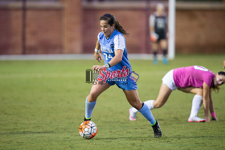 Paige Nielsen (24) of the North Carolina Tar Heels controls the ball during second half action against the Wake Forest Demon Deacons at Spry Soccer Stadium on September 27, 2015 in Winston-Salem, North Carolina.  The Tar Heels defeated the Demon Deacons 1-0.  (Brian Westerholt/Sports On Film)