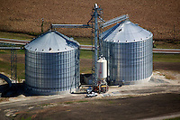 aerial photograph pf grain storage bins in Iowa