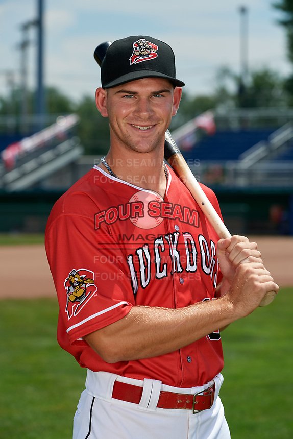 Batavia Muckdogs Matt Brooks (15) poses for a photo on July 2, 2018 at Dwyer Stadium in Batavia, New York.  (Mike Janes/Four Seam Images)