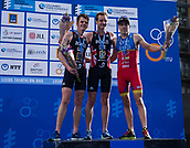 June 11th 2017, Leeds, Yorkshire, England; ITU World Triathlon Leeds 2017; The mens podium, 1st Alistair Brownlee, 2nd Jonathan Brownlee and 3rd Fernando Alarza