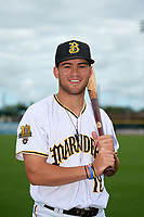 Bradenton Marauders Travis Swaggerty (12) poses for a photo before a Florida State League game against the Charlotte Stone Crabs on April 10, 2019 at LECOM Park in Bradenton, Florida.  Bradenton defeated Charlotte 2-1.  (Mike Janes/Four Seam Images)