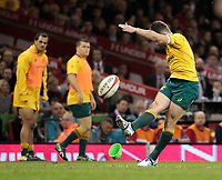 Australia's Bernard Foley converts<br /> <br /> Photographer Simon King/CameraSport<br /> <br /> International Rugby Union - 2017 Under Armour Series Autumn Internationals - Wales v Australia - Saturday 11th November 2017 - Principality Stadium - Cardiff<br /> <br /> World Copyright &copy; 2017 CameraSport. All rights reserved. 43 Linden Ave. Countesthorpe. Leicester. England. LE8 5PG - Tel: +44 (0) 116 277 4147 - admin@camerasport.com - www.camerasport.com