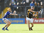 Jack Browne of Ballyea in action against David Collins of  Cratloe during the county senior hurling final at Cusack Park. Photograph by John Kelly.