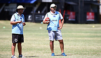 Jaco Pienaar (Assistant Coach) of the Cell C Sharks with Robert du Preez (Head Coach) of the Cell C Sharks during the cell c sharks pre season training session at  Growthpoint Kings Park ,22,01,2018 Photo by Steve Haag)