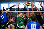 18.11.2018, Halle Berg Fidel, Muenster<br />Volleyball, Bundesliga Frauen, Normalrunde, USC MŸnster / Muenster vs. VfB Suhl Lotto ThŸringen / Thueringen<br /><br />Angriff Claudia Steger (#11 Suhl) - Block  / Dreierblock Mareike Hindriksen (#2 Muenster), Juliane Langgemach (#9 Muenster), Ivana Vanjak (#7 Muenster)<br /><br />  Foto © nordphoto / Kurth