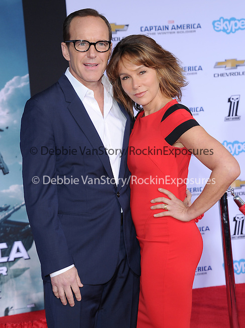 Clark Gregg and Jennifer Grey attends The Marvel World Premiere of Captain America; The Winter Soldier held at The El Capitan in Hollywood, California on March 13,2014                                                                               © 2014 Hollywood Press Agency