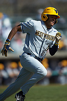 Victor Scott (6) of the West Virginia Mountaineers hustles down the first base line against the Illinois Fighting Illini at TicketReturn.com Field at Pelicans Ballpark on February 23, 2020 in Myrtle Beach, South Carolina. The Fighting Illini defeated the Mountaineers 2-1.  (Brian Westerholt/Four Seam Images)