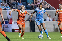 Bridgeview, IL - Saturday July 23, 2016:  Chicago Red Stars forward Cara Walls (12) and Houston Dash defender Ellie Brush (8) during a regular season National Women's Soccer League (NWSL) match between the Chicago Red Stars and the Houston Dash at Toyota Park.