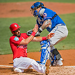 28 February 2019: St. Louis Cardinals infielder Matt Carpenter is tagged out at the plate by New York Mets catcher Wilson Ramos to end the 3rd inning of a Spring Training game at Roger Dean Stadium in Jupiter, Florida. The Mets defeated the Cardinals 3-2 in Grapefruit League play. Mandatory Credit: Ed Wolfstein Photo *** RAW (NEF) Image File Available ***