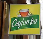 Ceylon tea sign in historic town of Galle, Sri Lanka, Asia