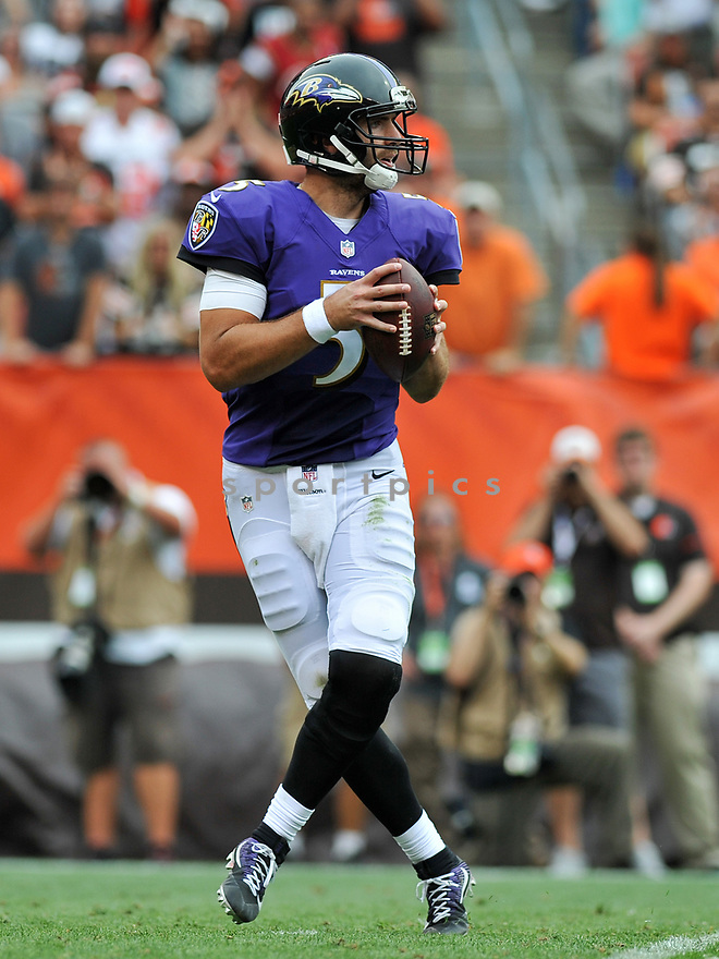 CLEVELAND, OH - JULY 18, 2016: Quarterback Joe Flacco #5 of the Baltimore Ravens drops back to pass in the third quarter of a game against the Cleveland Browns on July 18, 2016 at FirstEnergy Stadium in Cleveland, Ohio. Baltimore won 25-20. (Photo by: 2017 Nick Cammett/Diamond Images)  *** Local Caption *** Joe Flacco(SPORTPICS)