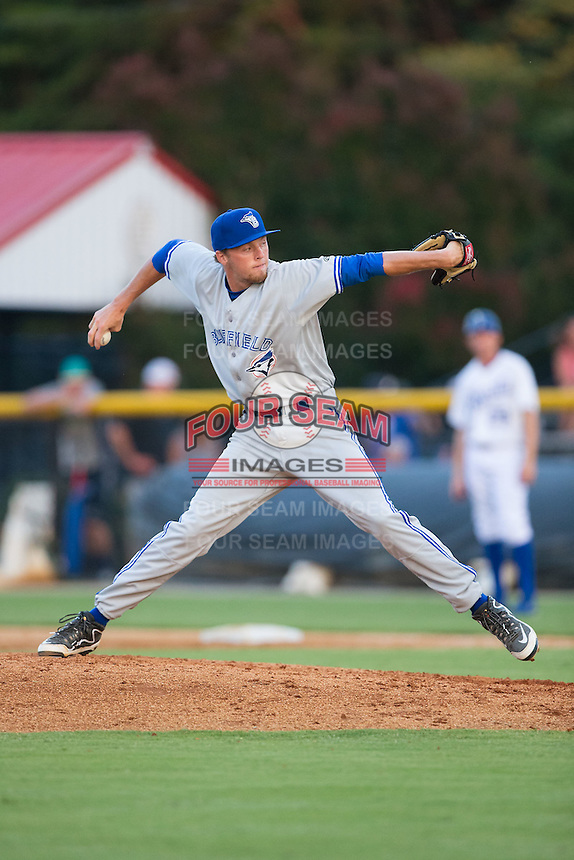 Bluefield Blue Jays relief pitcher Josh DeGraaf (25) delivers a pitch to the plate against the Burlington Royals at Burlington Athletic Park on June 29, 2015 in Burlington, North Carolina.  The Royals defeated the Blue Jays 4-1. (Brian Westerholt/Four Seam Images)