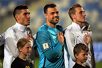 From left, Michael Boxall, Stefan Marinovic and Chris Wood line up before the first leg of FIFA World Cup Russia 2018 qualifying football match between the New Zealand All Whites and Solomon Islands at QBE Stadium in Albany, New Zealand on Friday, 1 September 2017. Photo: Dave Lintott / lintottphoto.co.nz