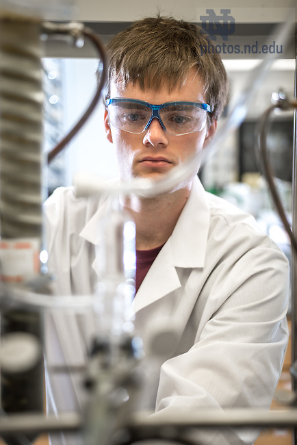 Jul. 10, 2014; Bryce Jones, undergraduate researcher in chemistry, summer 2014.<br /> <br /> Photo by Matt Cashore/University of Notre Dame