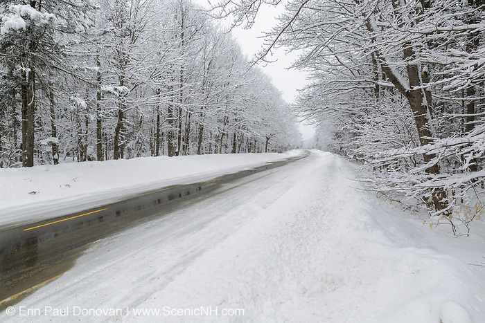 The Kancamagus Scenic Byway in the White Mountains, New Hampshire snow covered during winter months.