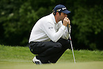 Bradley Dredge lines up his putt on the 2nd hole during the final round of the Irish Open on 20th of May 2007 at the Adare Manor Hotel & Golf Resort, Co. Limerick, Ireland. (Photo by Eoin Clarke/NEWSFILE)